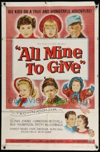 2t041 ALL MINE TO GIVE 1sh '57 Glynis Johns, Cameron Mitchell, six kids on a wonderful adventure!