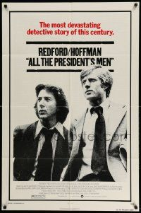 2t042 ALL THE PRESIDENT'S MEN 1sh '76 Dustin Hoffman & Robert Redford as Woodward & Bernstein!