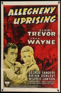2t043 ALLEGHENY UPRISING 1sh R52 John Wayne & Claire Trevor with arms around each other!