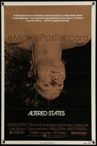 2t044 ALTERED STATES 1sh '80 William Hurt, Paddy Chayefsky, Ken Russell, sci-fi horror!
