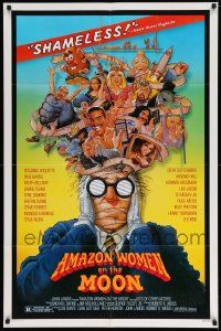 2t046 AMAZON WOMEN ON THE MOON 1sh '87 Joe Dante, cool wacky art of cast by William Stout!