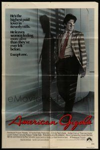 2t047 AMERICAN GIGOLO int'l 1sh '80 handsomest male prostitute Richard Gere is framed for murder!