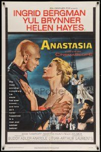 2t049 ANASTASIA 1sh '56 great romantic art of Ingrid Bergman & Yul Brynner!