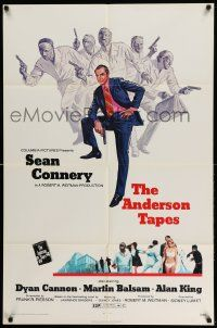 2t051 ANDERSON TAPES 1sh '71 art of Sean Connery & gang of masked robbers, Sidney Lumet