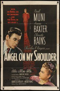 2t052 ANGEL ON MY SHOULDER 1sh '46 artwork of Paul Muni, Claude Rains, pretty Anne Baxter!