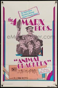 2t054 ANIMAL CRACKERS 1sh R74 wacky artwork of all four Marx Brothers!