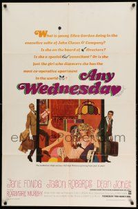 2t064 ANY WEDNESDAY 1sh '66 sexy Jane Fonda, Jason Robards & Dean Jones by Robert McGinnis!