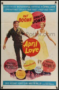 2t067 APRIL LOVE 1sh '57 full-length romantic art of Pat Boone & sexy Shirley Jones!