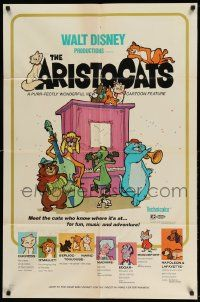 2t069 ARISTOCATS 1sh '71 Walt Disney feline jazz musical cartoon, great colorful art!