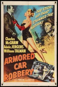2t070 ARMORED CAR ROBBERY 1sh '50 Charles McGraw & very sexy showgirl Adele Jergens!