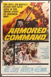 2t071 ARMORED COMMAND 1sh '61 Burt Reynolds' first movie, great art of tank on battlefield!