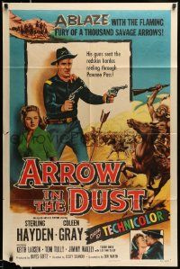2t073 ARROW IN THE DUST 1sh '54 tough double-fisted Sterling Hayden, pretty Coleen Gray