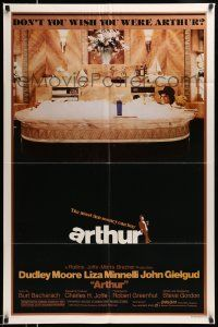 2t074 ARTHUR style B 1sh '81 image of drunken Dudley Moore in huge bath tub w/martini!