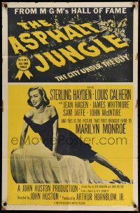 2t075 ASPHALT JUNGLE 1sh R54 Marilyn Monroe, Sterling Hayden, John Huston classic film noir!