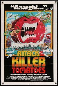 2t079 ATTACK OF THE KILLER TOMATOES 1sh '79 wacky monster artwork by David Weisman!