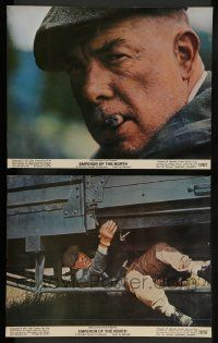 2w874 EMPEROR OF THE NORTH POLE 2 color 11x14 stills '73 Lee Marvin with cigar and under train!
