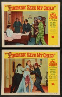2w875 FIREMAN, SAVE MY CHILD 2 LCs '54 Spike Jones with fire axe, Buddy Hackett and Adele Jergens!
