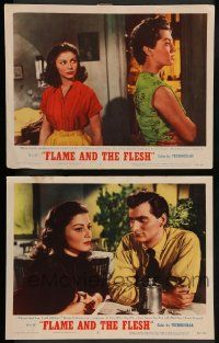 2w876 FLAME & THE FLESH 2 LCs '54 sexy brunette bad girl Lana Turner, plus Pier Angeli!
