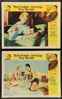 2w915 LOVER COME BACK 2 LCs '61 Doris Day consoling Rock Hudson in bed & both at beach!