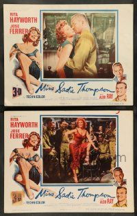 2w928 MISS SADIE THOMPSON 2 3D LCs '54 Aldo Ray with sexy prostitute Rita Hayworth!