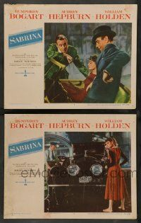 2w962 SABRINA 2 LCs '54 great images of Humphrey Bogart, Audrey Hepburn and William Holden!