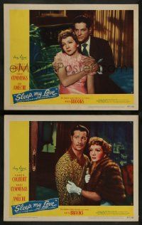 2w967 SLEEP MY LOVE 2 LCs '47 Claudette Colbert with Robert Cummings, Don Ameche!