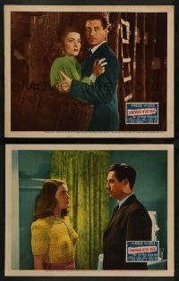 2w969 SOMEWHERE IN THE NIGHT 2 LCs '46 great images of John Hodiak and pretty Nancy Guild!