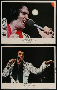 2w146 ELVIS ON TOUR 8 LCs '72 cool images of Elvis Presley singing into microphone & w/ guitar!