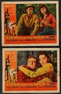 2w168 FLESH & THE SPUR 8 LCs '56 John Agar, sexy Marla English, Mike Connors!