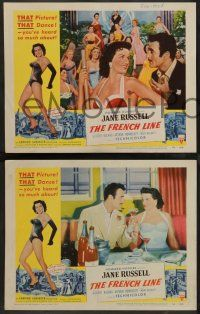 2w746 FRENCH LINE 3 2D LCs '54 Howard Hughes, sexy Jane Russell in France!