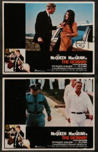 2w748 GETAWAY 3 int'l LCs R80 Steve McQueen, Ali McGraw, Sam Peckinpah, cool action images!