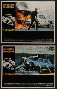 2w558 GETAWAY 5 LCs '72 great images of Steve McQueen, Ali McGraw, directed by Sam Peckinpah!
