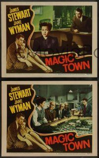 2w771 MAGIC TOWN 3 LCs '47 Wellman, pretty Jane Wyman pushes James Stewart down to the floor!