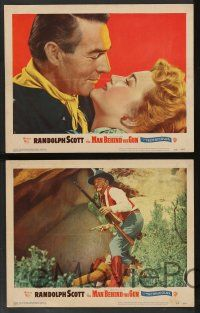 2w448 MAN BEHIND THE GUN 7 LCs '52 romantic images of Randolph Scott & Patrice Wymore!