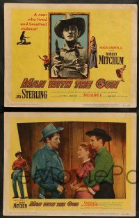 2w249 MAN WITH THE GUN 8 LCs '55 Robert Mitchum as a man who lived & breathed violence!