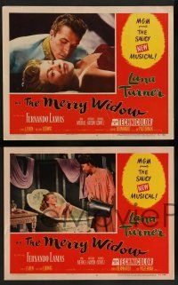 2w643 MERRY WIDOW 4 LCs '52 great images of sexy Lana Turner & Fernando Lamas, Una Merkel!