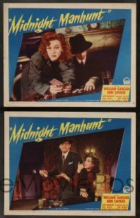 2w521 MIDNIGHT MANHUNT 6 LCs '45 William Gargan, Ann Savage hid the body they all wanted!