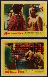 2w523 MONKEY ON MY BACK 6 LCs '57 Cameron Mitchell chooses a woman over dope, Dianne Foster!