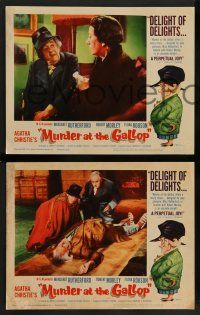 2w773 MURDER AT THE GALLOP 3 LCs '63 Robert Morley, Margaret Rutherford, wacky Tom Jung border art!