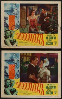 2w665 ROADBLOCK 4 LCs '51 Charles McGraw & Joan Dixon in crime film noir!