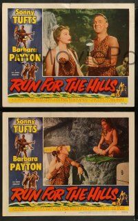 2w536 RUN FOR THE HILLS 6 LCs '53 wacky caveman Sonny Tufts & sexy cavegirl Barbara Payton!