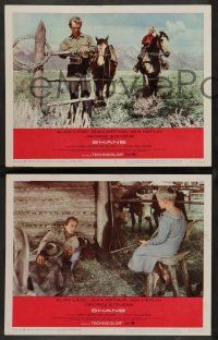 2w802 SHANE 3 LCs R66 most classic western, great images of Alan Ladd and Brandon De Wilde!
