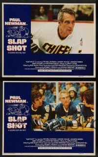 2w679 SLAP SHOT 4 LCs '77 George Roy Hill directed, great images of hockey player Paul Newman!