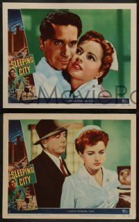 2w574 SLEEPING CITY 5 LCs '50 Richard Conte, Alex Nicol, Coleen Gray, New York City film noir!
