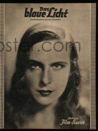 2x065 BLUE LIGHT German program R38 giant image of Leni Riefenstahl on cover, Das blaue Licht!