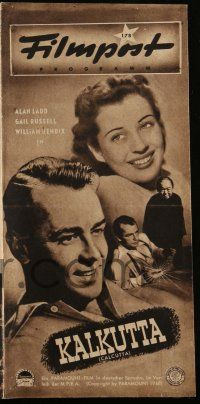 2x079 CALCUTTA German program '47 different images of Alan Ladd & sexy Gail Russell in India!