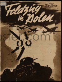 2x080 CAMPAIGN IN POLAND German program '40 Nazi planes and tanks marching over map into Warsaw!