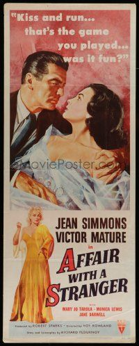 2y004 AFFAIR WITH A STRANGER revised insert '53 great artwork of Jean Simmons, Victor Mature!