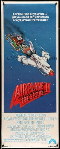2y006 AIRPLANE II insert '82 Robert Hays, great wacky art of Santa Claus dragged by plane!