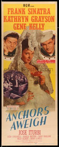 2y009 ANCHORS AWEIGH insert '45 art of sailors Frank Sinatra & Gene Kelly with Kathryn Grayson!